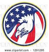 Vector Clip Art of Retro Bald Eagle Head in a USA American Flag Circle by Patrimonio