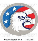 Vector Clip Art of Retro Bald Eagle Head in an American Themed Oval by Patrimonio