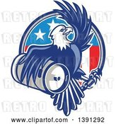 Vector Clip Art of Retro Bald Eagle Holding a Beer Keg and Emerging from an American Circle by Patrimonio