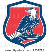 Vector Clip Art of Retro Bald Eagle in a Red White and Blue Shield by Patrimonio