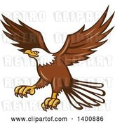Vector Clip Art of Retro Bald Eagle in Flight by Patrimonio
