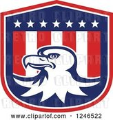 Vector Clip Art of Retro Bald Eagle on an American Flag Shield by Patrimonio