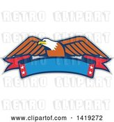 Vector Clip Art of Retro Bald Eagle over a Blank Banner by Patrimonio