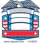 Vector Clip Art of Retro Bald Eagle over a Shield with Blank Banners by Patrimonio