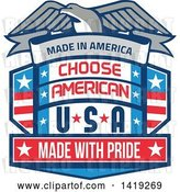 Vector Clip Art of Retro Bald Eagle over a Shield with Made in America Choose American Usa Made with Pride Text by Patrimonio