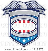 Vector Clip Art of Retro Bald Eagle over an American Shield by Patrimonio