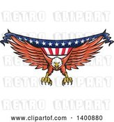 Vector Clip Art of Retro Bald Eagle Swooping with an American Flag Banner by Patrimonio