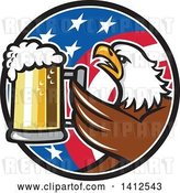 Vector Clip Art of Retro Bald Eagle Toasting with Beer in an American Flag Circle by Patrimonio
