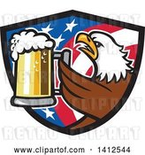 Vector Clip Art of Retro Bald Eagle Toasting with Beer in an American Flag Shield by Patrimonio