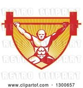 Vector Clip Art of Retro Bald Male Bodybuilder Squatting and Lifting a Barbell over a Red and Orange Shield of Rays by Patrimonio