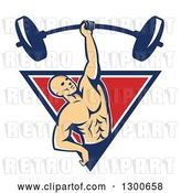 Vector Clip Art of Retro Bald White Male Bodybuilder Lifting a Barbell One Handed and Emerging from a Blue White and Red Triangle by Patrimonio