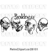 Vector Clip Art of Retro Baldness Text over Four Men by Prawny Vintage
