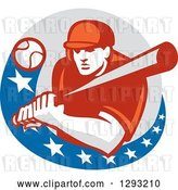 Vector Clip Art of Retro Ball Flying at a Male Baseball Player Batting Inside an American Circle by Patrimonio