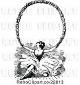 Vector Clip Art of Retro Ballerina Holding up a Floral Frame by Prawny Vintage