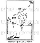 Vector Clip Art of Retro Ballerina Tight Rope Walking over an Alligator by Prawny Vintage