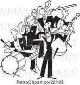 Vector Clip Art of Retro Band of Bass, Drum, Sax and Violin Players by BestVector