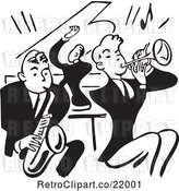 Vector Clip Art of Retro Band of Men Playing a Sax, Piano and Trumpet by BestVector