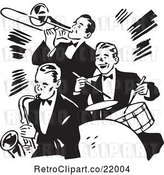 Vector Clip Art of Retro Band of Three Gentlemen Playing a Trumpet, Saxophone and Drums by BestVector