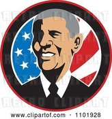 Vector Clip Art of Retro Barack Obama American President over Stars and Stripes by Patrimonio