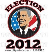 Vector Clip Art of Retro Barack Obama American President over Stars and Stripes with Election 2012 Text by Patrimonio