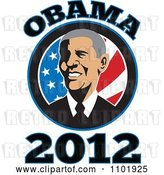 Vector Clip Art of Retro Barack Obama American President over Stars and Stripes with Text by Patrimonio