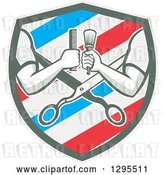 Vector Clip Art of Retro Barber Arms Holding a Brush and Comb over Scissors in a White Blue and Red Barber Pole Shield by Patrimonio
