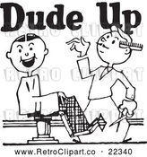 Vector Clip Art of Retro Barber with a Client and Dude up Text by BestVector