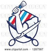 Vector Clip Art of Retro Barber's Hand Holding a Brush on Open Scissors in a Ray and Stripe Shield by Patrimonio