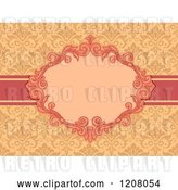 Vector Clip Art of Retro Baroque Frame over Damask by BNP Design Studio