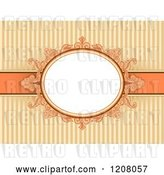 Vector Clip Art of Retro Baroque Frame over Orange with Stripes by BNP Design Studio