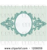 Vector Clip Art of Retro Baroque Frame over Pastel Blue Stripes by BNP Design Studio
