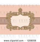 Vector Clip Art of Retro Baroque Frame over Pastel Pink Stripes by BNP Design Studio