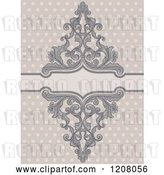Vector Clip Art of Retro Baroque Frame over Polka Dots by BNP Design Studio