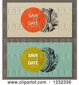 Vector Clip Art of Retro Baroque Save the Dates with Sample Text by Elena