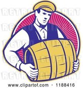 Vector Clip Art of Retro Bartender Carrying a Beer Keg Barrel over Rays by Patrimonio