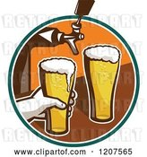 Vector Clip Art of Retro Bartender Filling Beer Glasses from Tap by Patrimonio