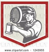 Vector Clip Art of Retro Bartender Guy Pouring a Beer from a Keg in a Shield by Patrimonio