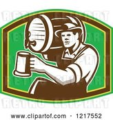 Vector Clip Art of Retro Bartender Holding a Keg on His Shoulder and Pouring a Beer over Green by Patrimonio