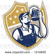 Vector Clip Art of Retro Bartender Holding up a Beer Mug over a Shield by Patrimonio