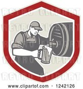 Vector Clip Art of Retro Bartender Pouring a Beer from a Keg in a Shield by Patrimonio