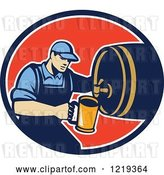 Vector Clip Art of Retro Bartender Pouring a Beer from a Keg in an Oval by Patrimonio