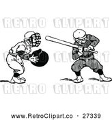 Vector Clip Art of Retro Baseball Batter and Catcher by Prawny Vintage