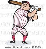 Vector Clip Art of Retro Baseball Guy Swinging a Bat by Patrimonio