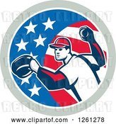 Vector Clip Art of Retro Baseball Pitcher Throwing in an American Flag Circle by Patrimonio