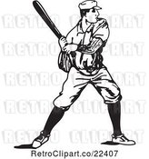 Vector Clip Art of Retro Baseball Player Batting by BestVector