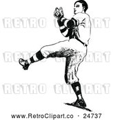 Vector Clip Art of Retro Baseball Player by Prawny Vintage