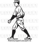 Vector Clip Art of Retro Baseball Player Walking by BestVector