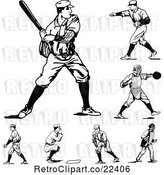 Vector Clip Art of Retro Baseball Players by BestVector