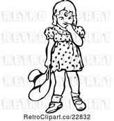 Vector Clip Art of Retro Bashful Girl Holding a Hat and Looking down by Prawny Vintage