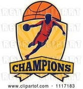 Vector Clip Art of Retro Basketball Player Athlete Dribbling on a Shield with CHAMPIONS Text by Patrimonio